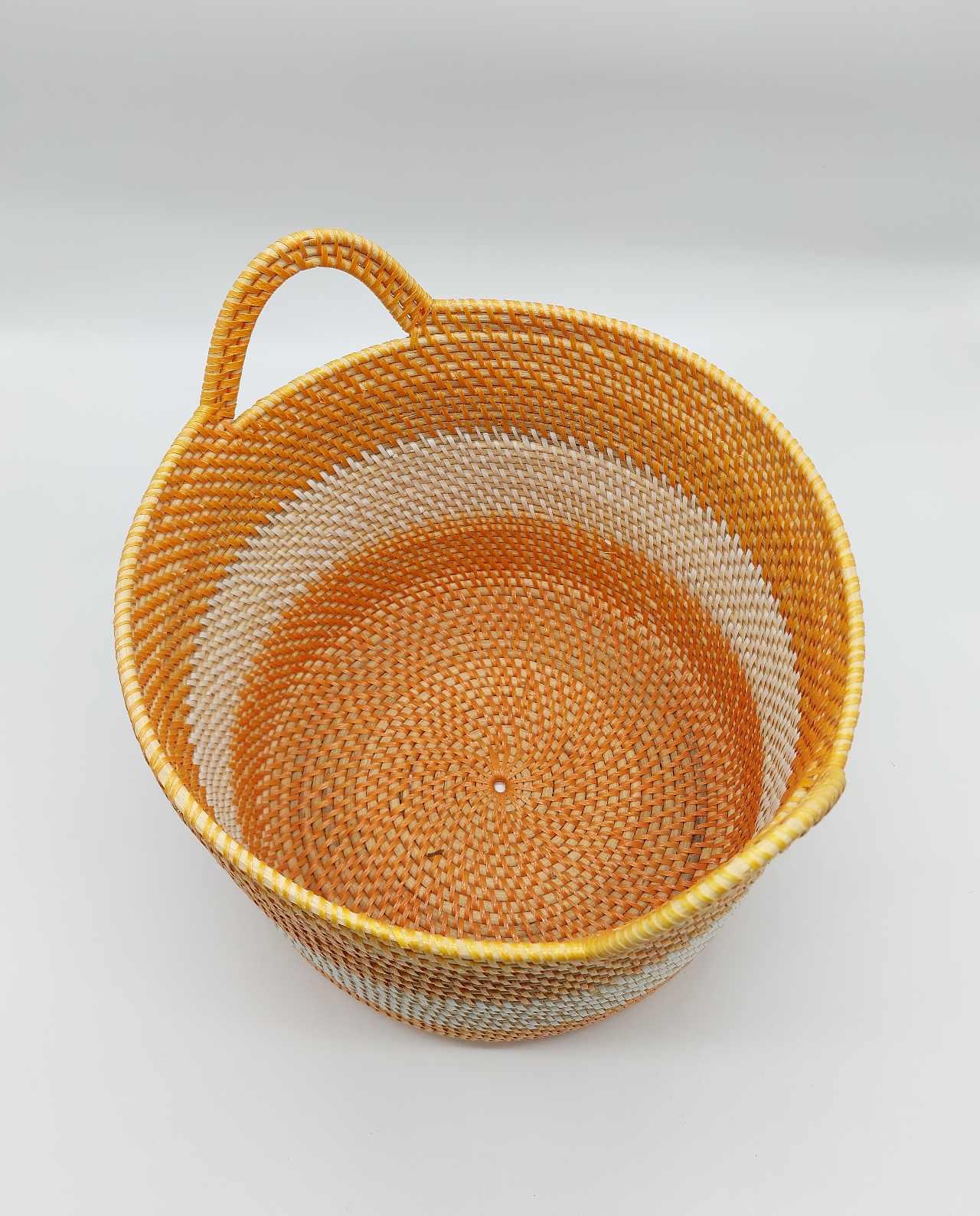 Basket Rattan White Orange Diameter 31 cm