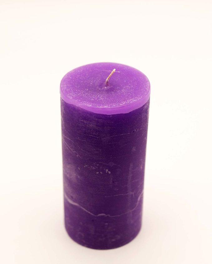 Κερί αρωματικό μασιφ χρώμα μωβ, διαμέτρου 7 cm, ύψος 15 cm