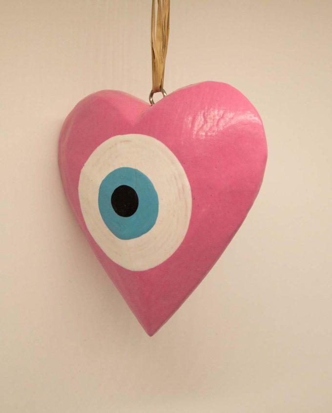 Wooden heart evil eye pink