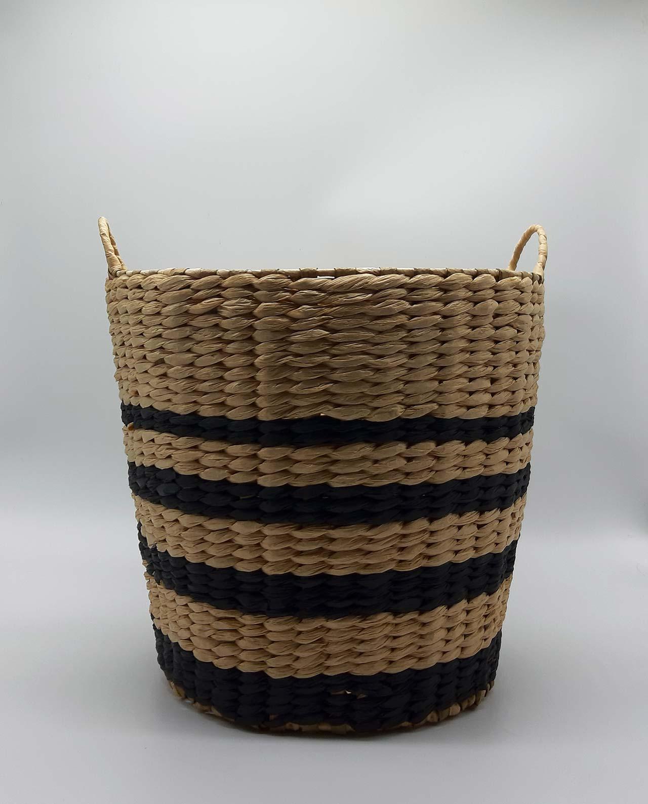 Καλάθι Raffia μαύρες γραμμές ύψους 28 cm