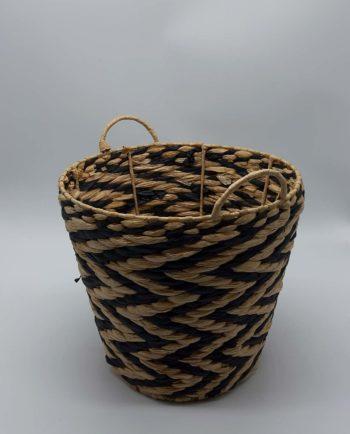 Basket raffia black beige zigzag height 28 cm