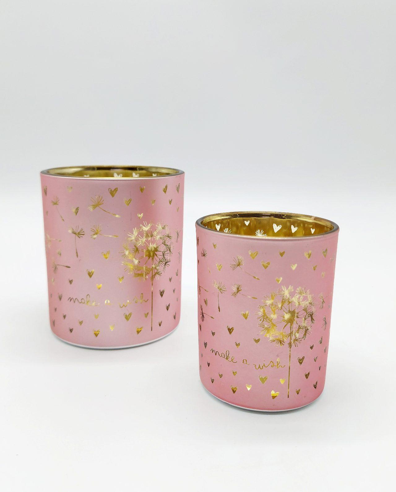 Tealight Votives Pink Dandelion Set 2 Pieces