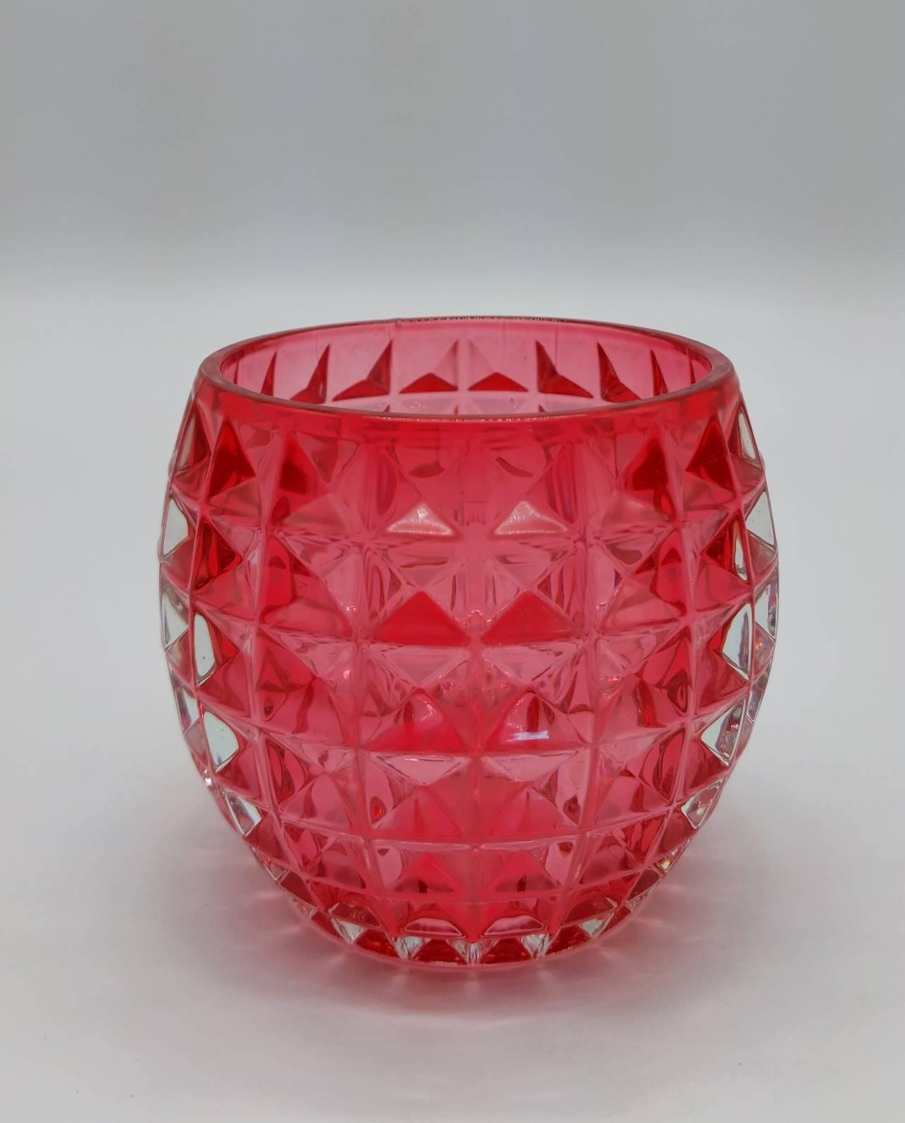 Tealight Glass Pink Height 9 cm