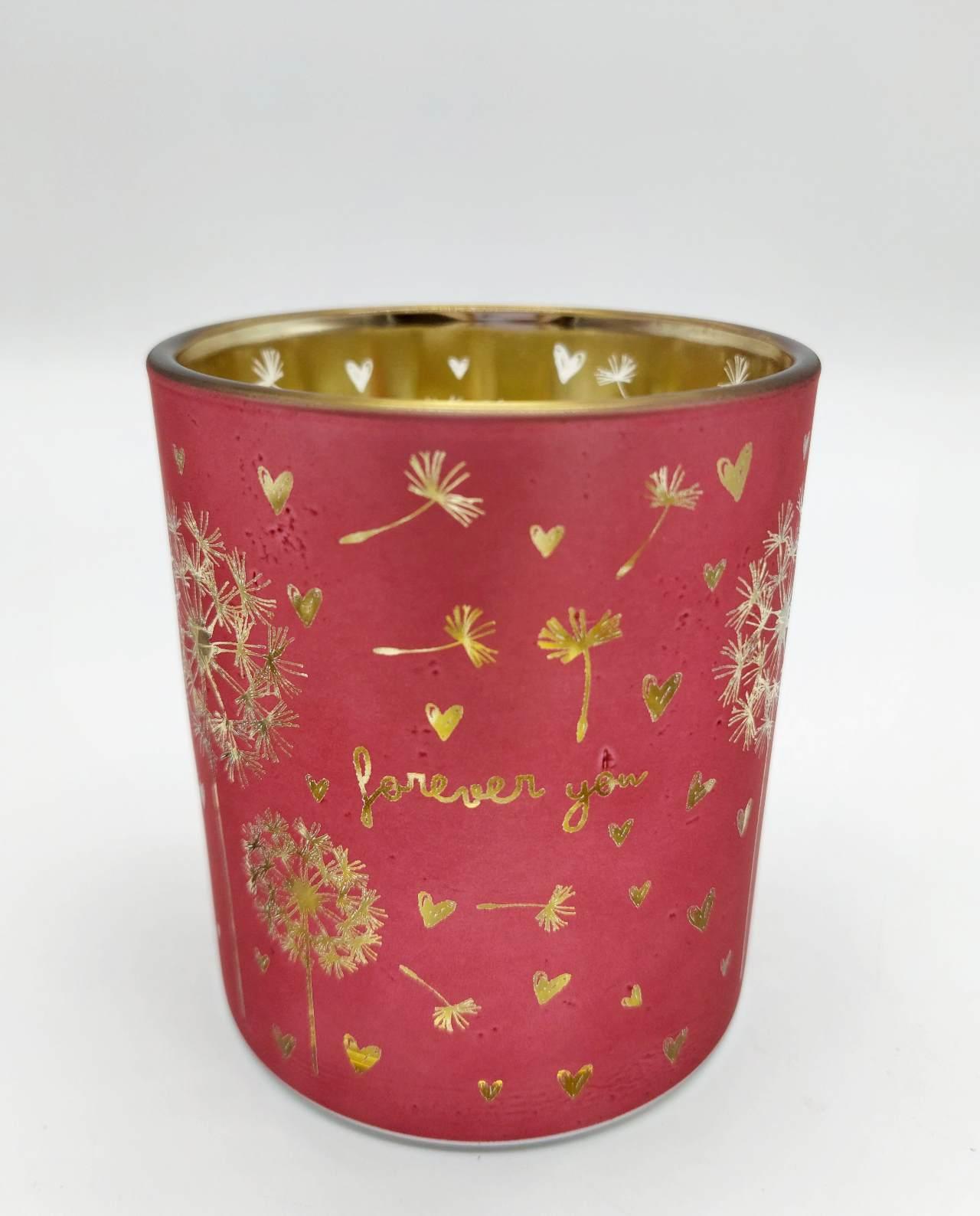 Tealight Votives Crimson Dandelion Set 2 Pieces