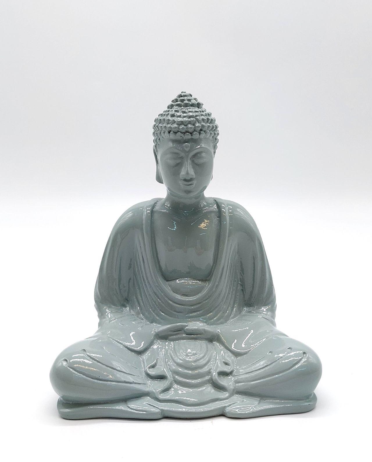 Buddha Resin Height 15 cm grey