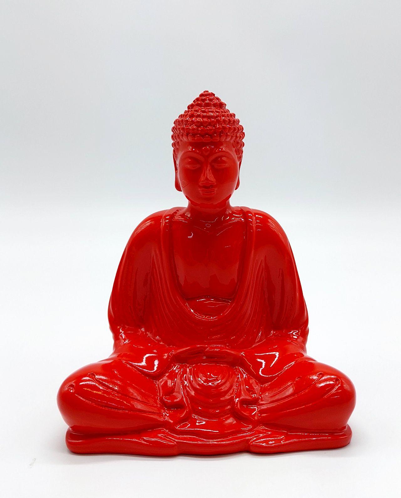 Buddha Resin Height 15 cm red