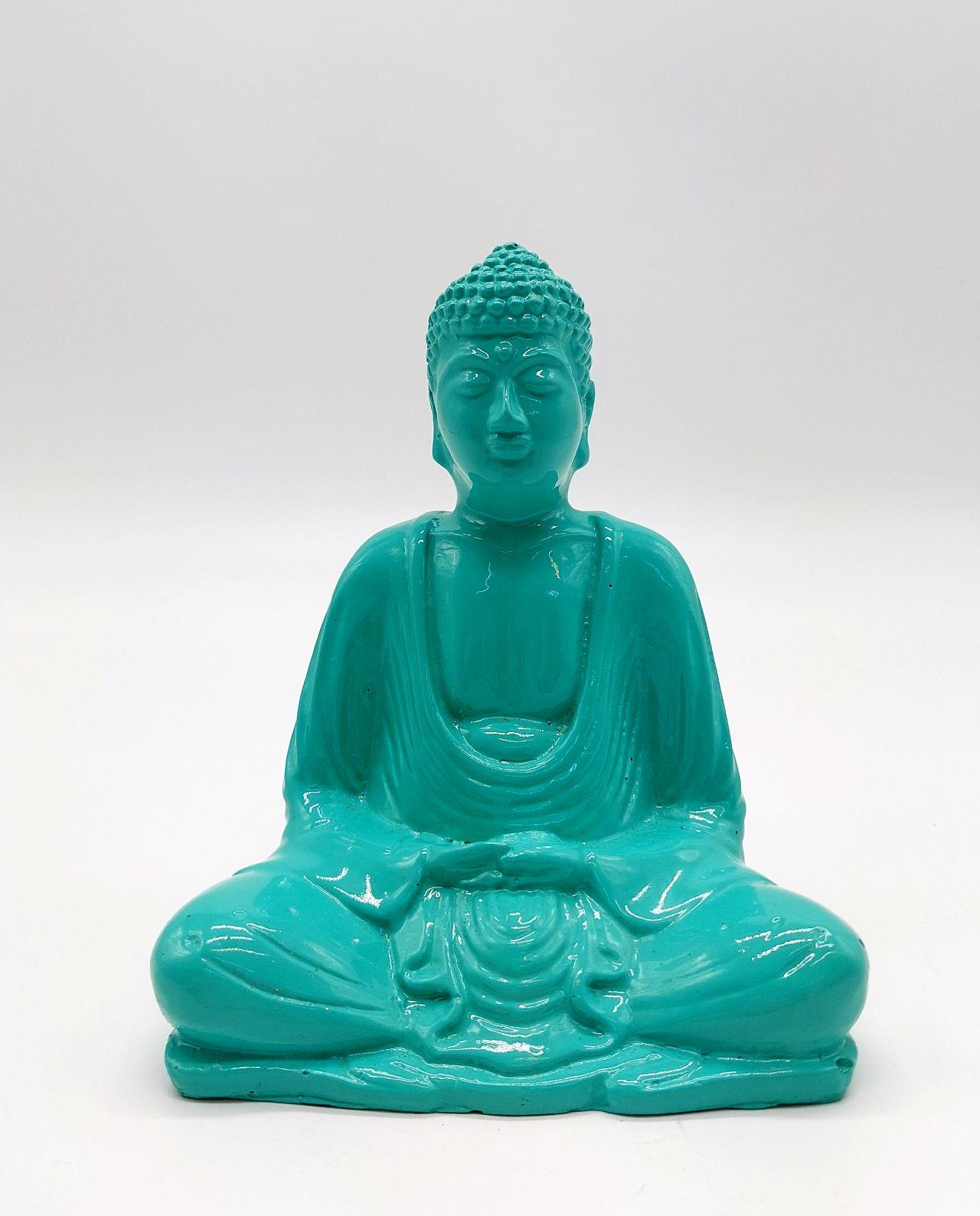 Buddha Resin Height 15 cm turquoise