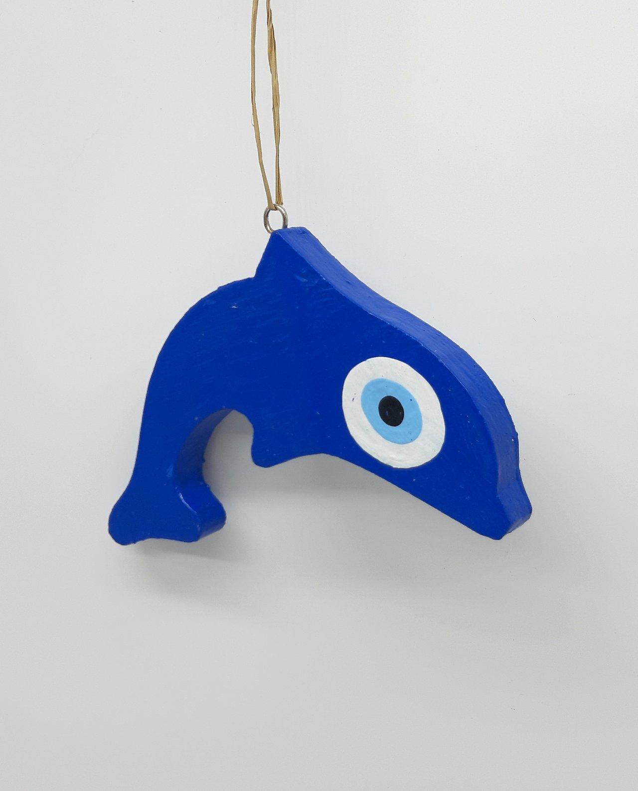 Δελφίνι Ματάκι Ξύλινο Χειροποίητο Μήκος 15 cm χρώμα μπλε