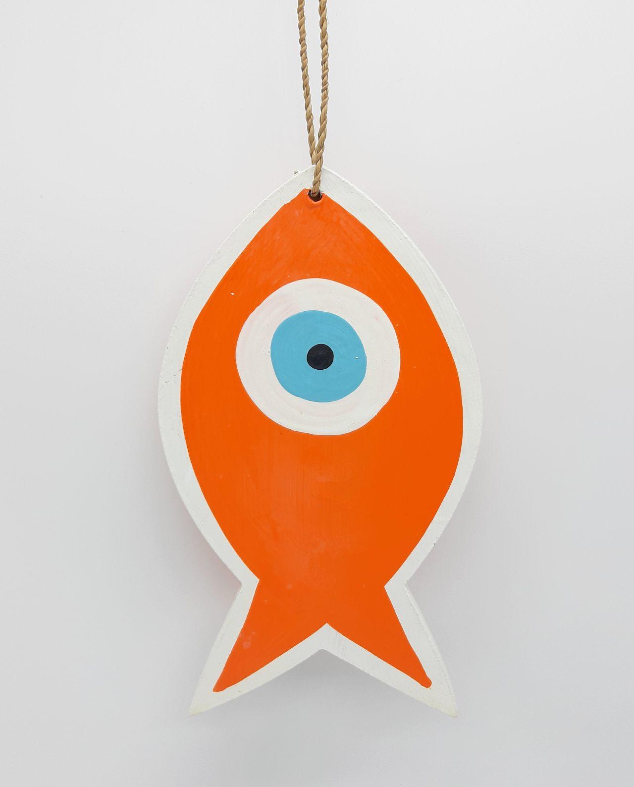 Ψάρι Ματάκι Ξύλινο Χειροποίητο Μήκος 18 cm πορτοκαλι