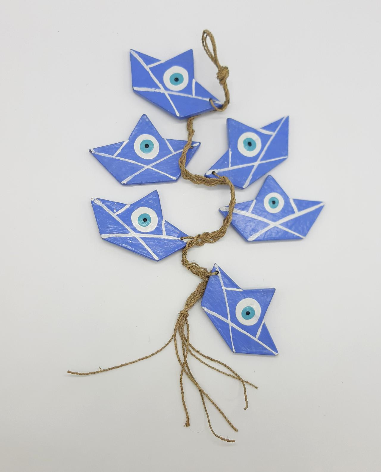 Γιρλάντα 6 Καραβάκια Ματάκι Ξύλινα Χειροποίητα χρώμα λουλακί
