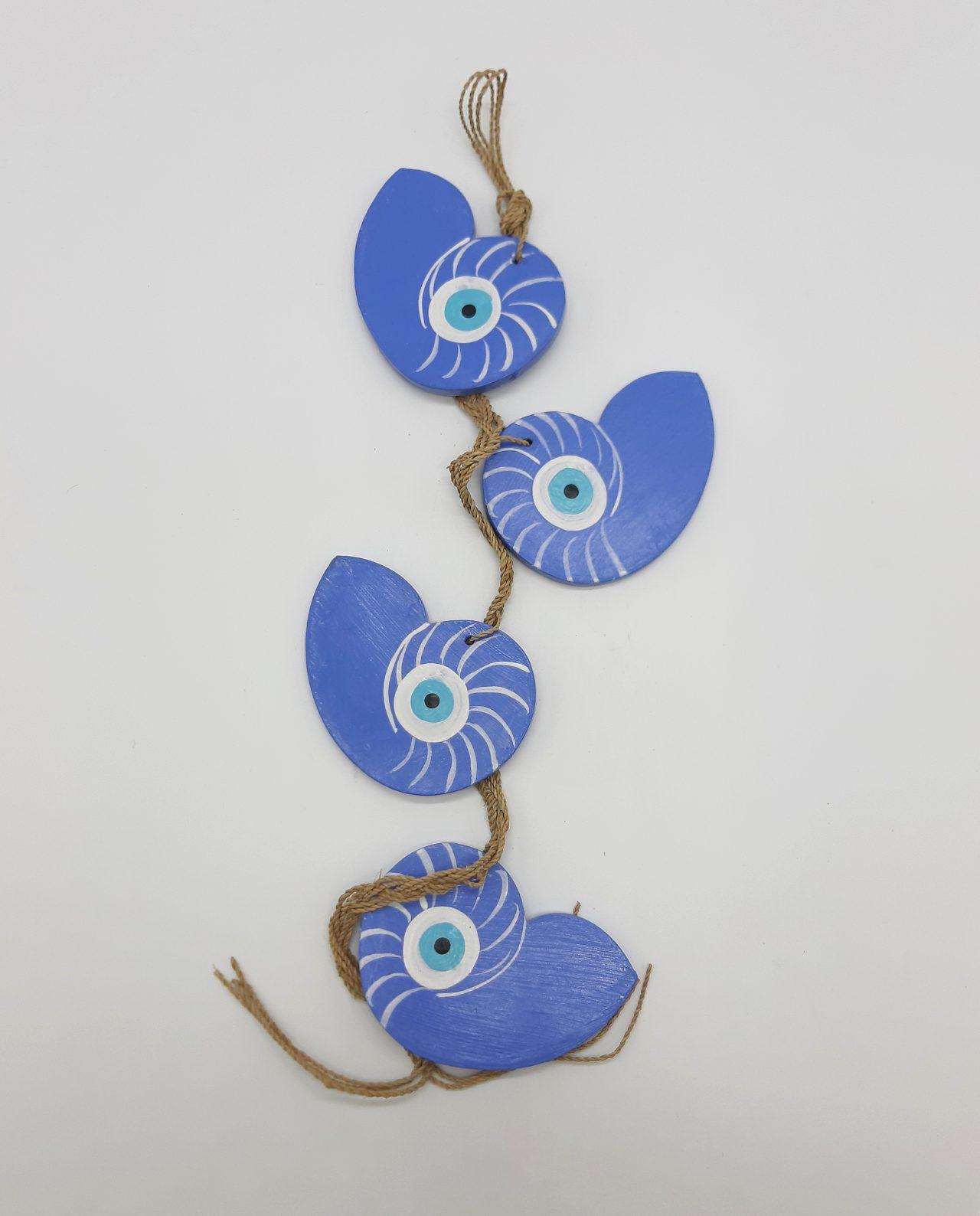 Γιρλάντα 4 Κοχύλια Ναυτίλος Ματάκι Ξύλινα Χειροποίητα χρώμα λουλακί