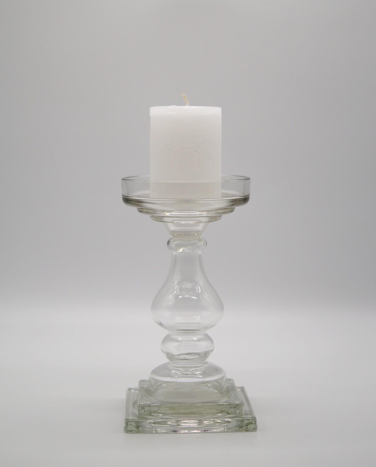 Κηροπήγιο γυάλινο διαφανές ύψους 24 cm