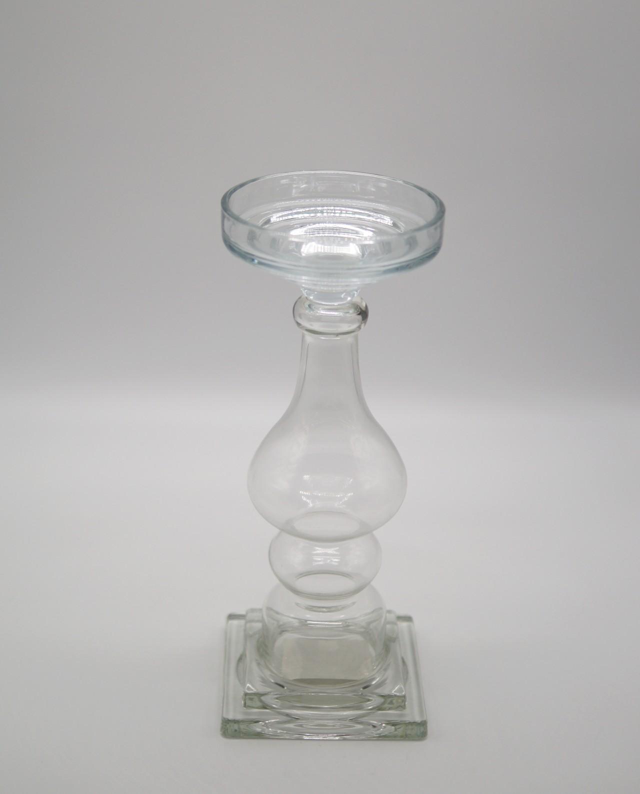 Κηροπήγιο γυάλινο διαφανές ύψους 32 cm