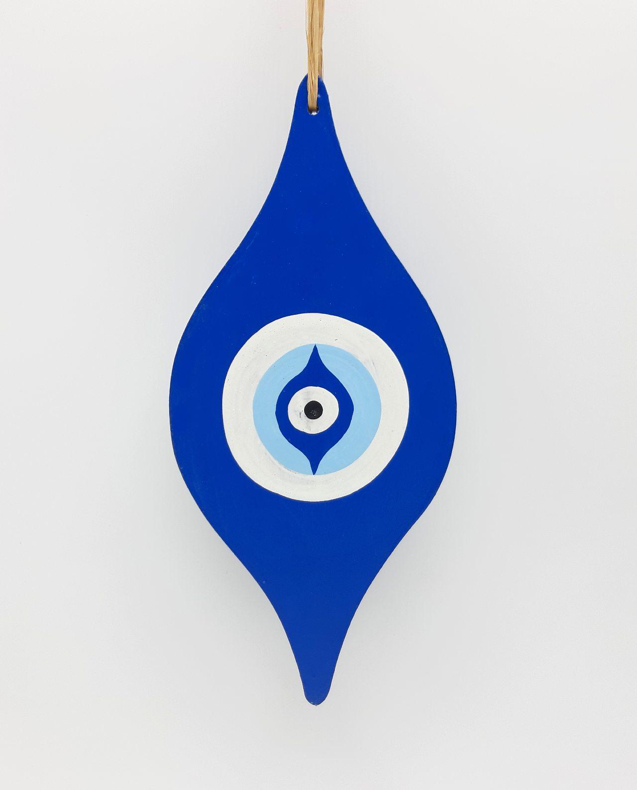 """Ματάκι """"Baroque"""" Ξύλινο Χειροποίητο Μήκος 25 cm χρώμα μπλε"""
