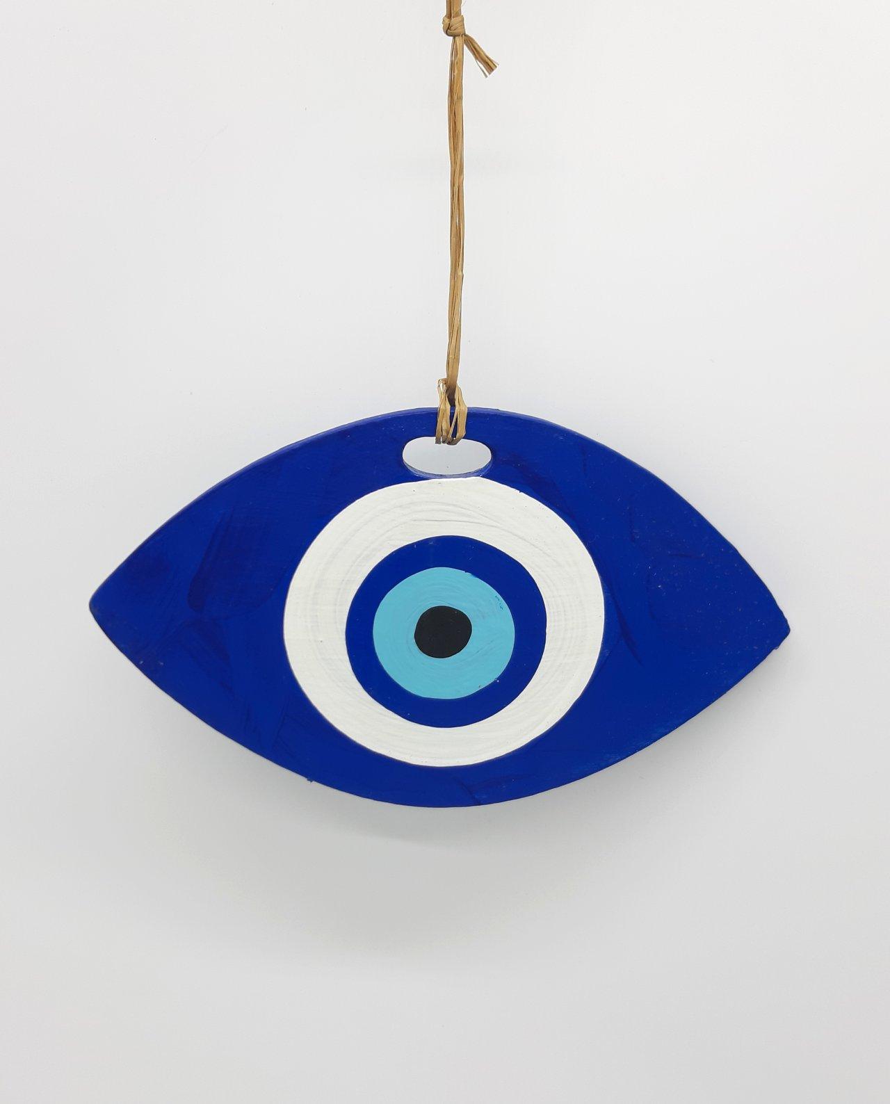 Evil eye oval wooden handmade length 19 cm color blue