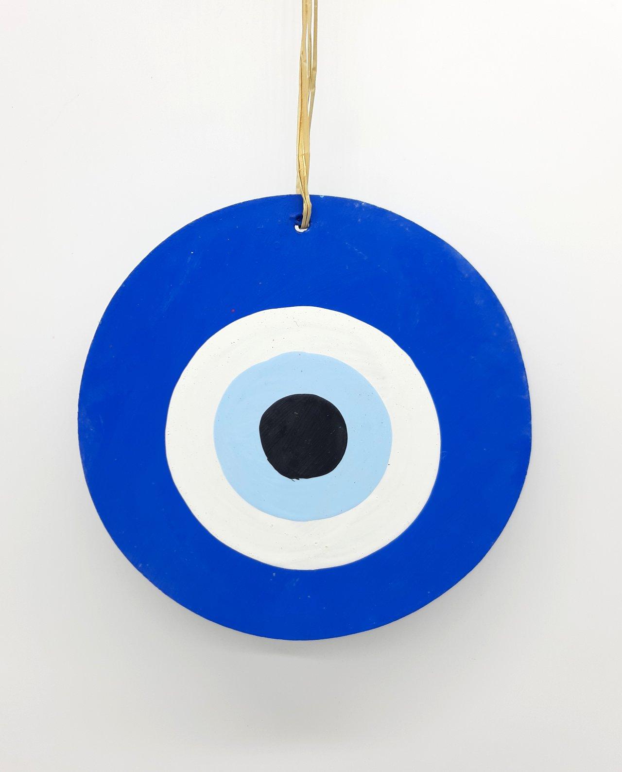 Ματάκι Ξύλινο Χειροποίητο Διαμέτρου 13 cm χρώμα μπλε