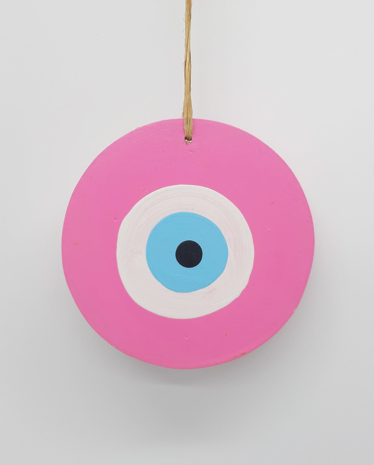 Ματάκι Ξύλινο Χειροποίητο Διαμέτρου 13 cm χρώμα ροζ