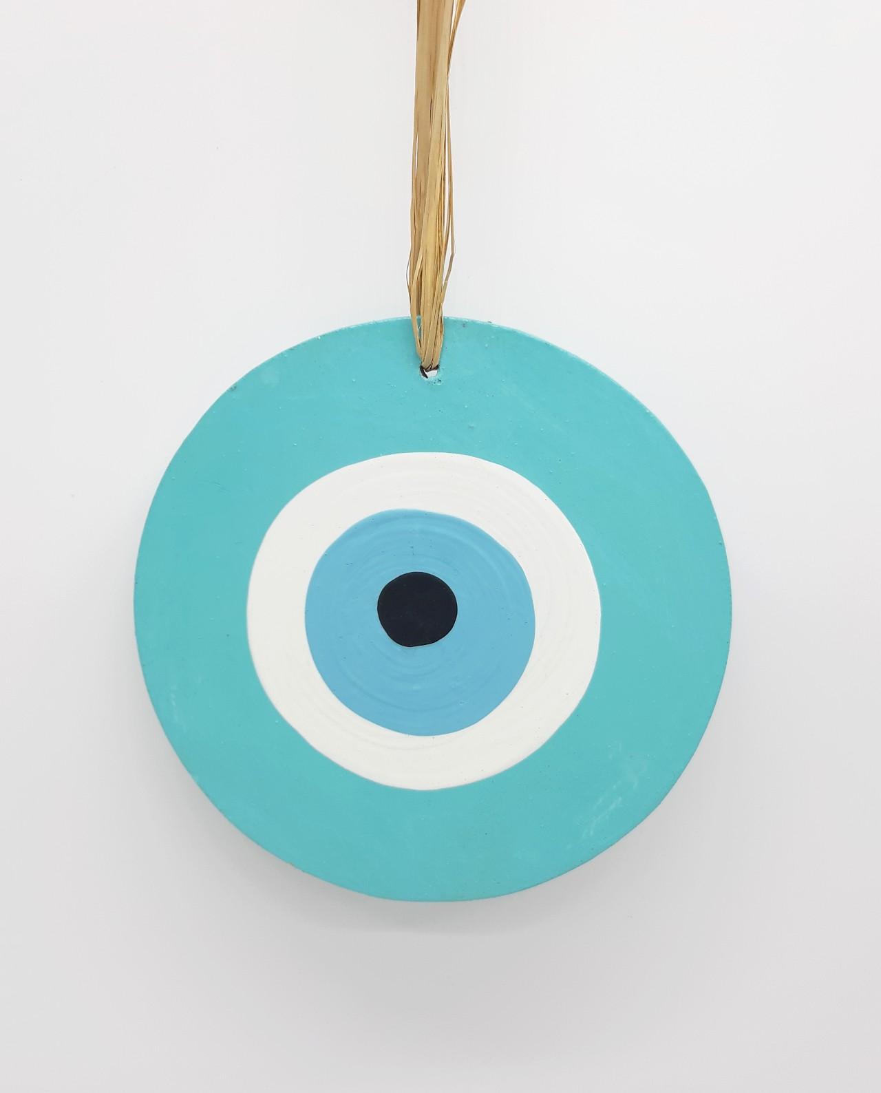evil eye wooden handmade diameter13cm color turquoise