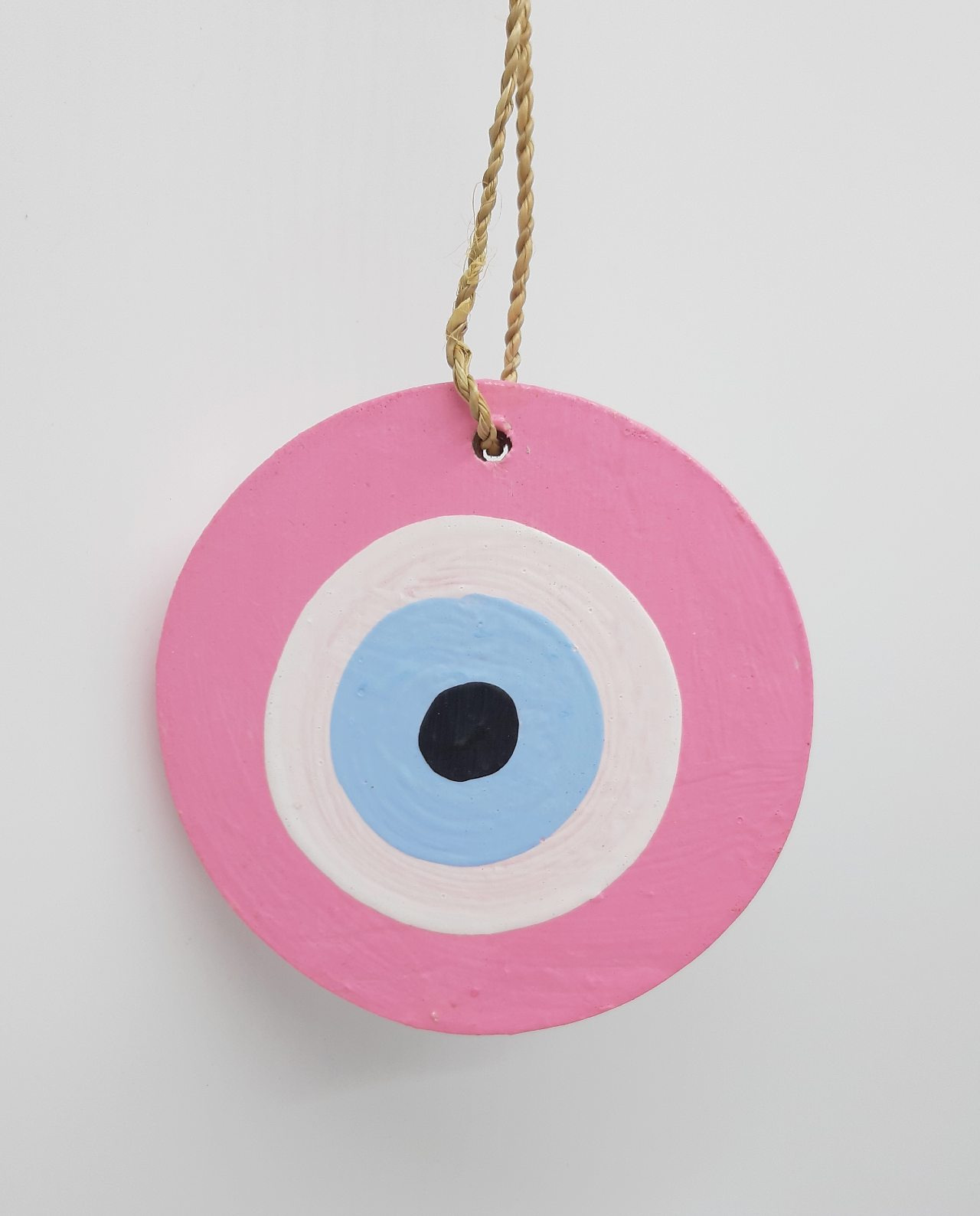 Ματάκι Ξύλινο Χειροποίητο Διαμέτρου 8 cm χρώμα ροζ