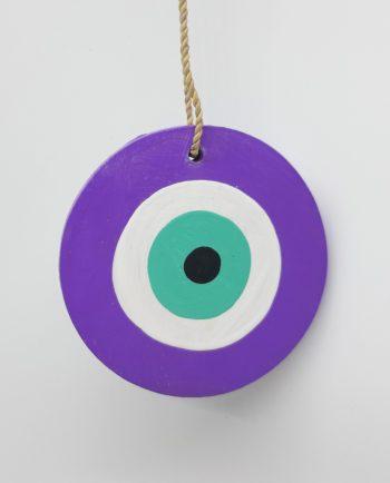 Evil Eye Wooden Handmade Diameter 8 cm color purple