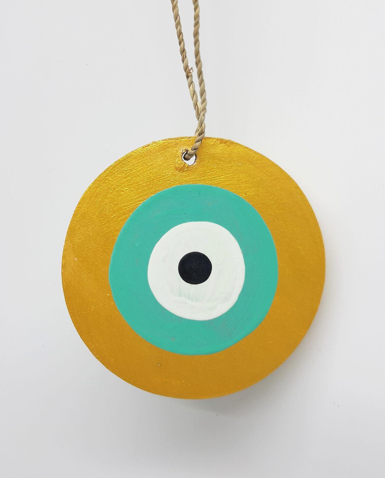 Ματάκι Ξύλινο Χειροποίητο Διαμέτρου 8 cm χρώμα μωβ