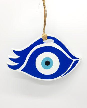 "Wooden evil eye ""eyelash"" handmade length 21 cm color blue"