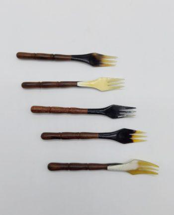 Forks Bone Wooden Carved Handle Set 5 pieces