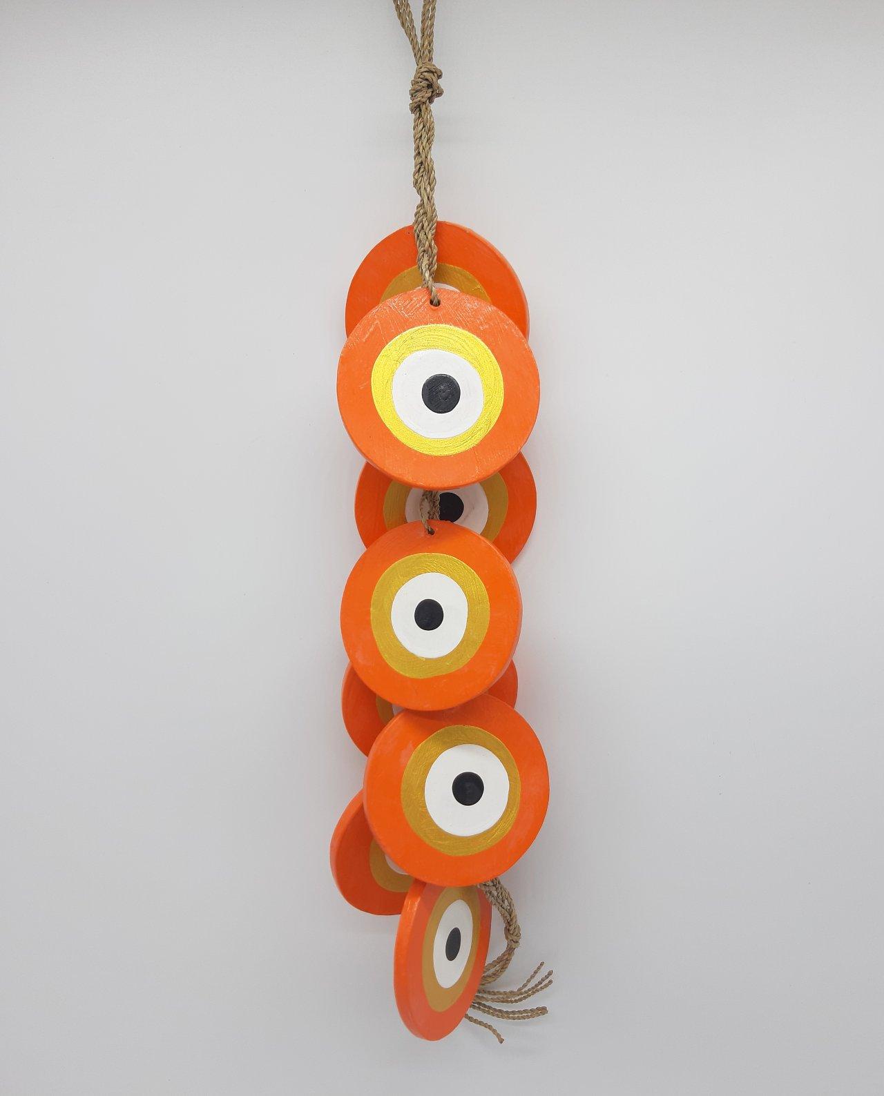 Γιρλάντα 8 Ματάκια Ξύλινα Χειροποίητα Μήκος 50 cm χρώμα πορτοκαλί χρυσό
