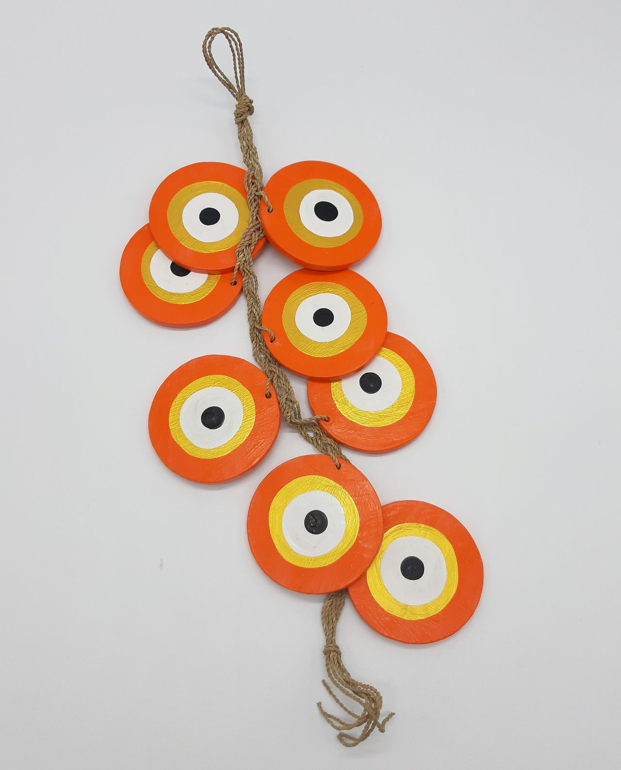 Γιρλάντα 8 Ματάκια Ξύλινα Χειροποίητα Μήκος 50 cm χρώμα πορτοκαλί