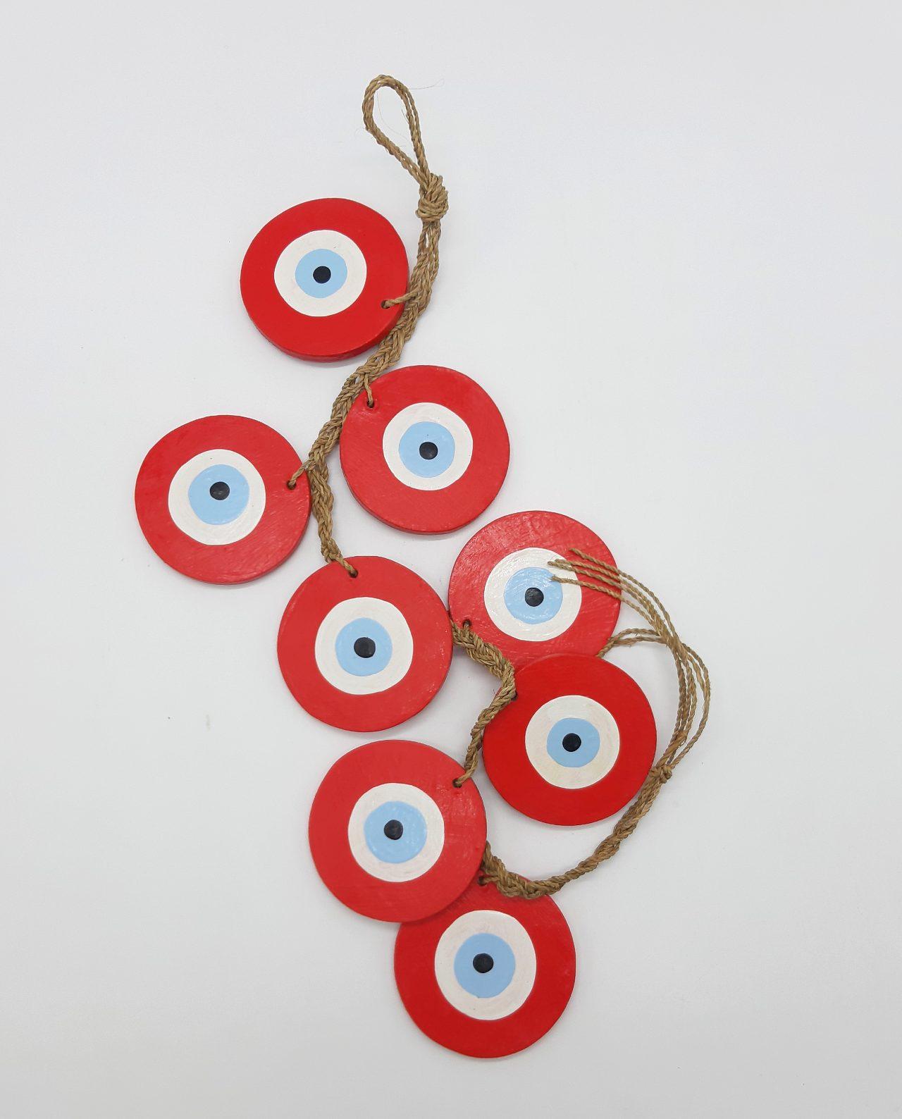 Γιρλάντα 8 Ματάκια Ξύλινα Χειροποίητα Μήκος 50 cm χρώμα κόκκινο