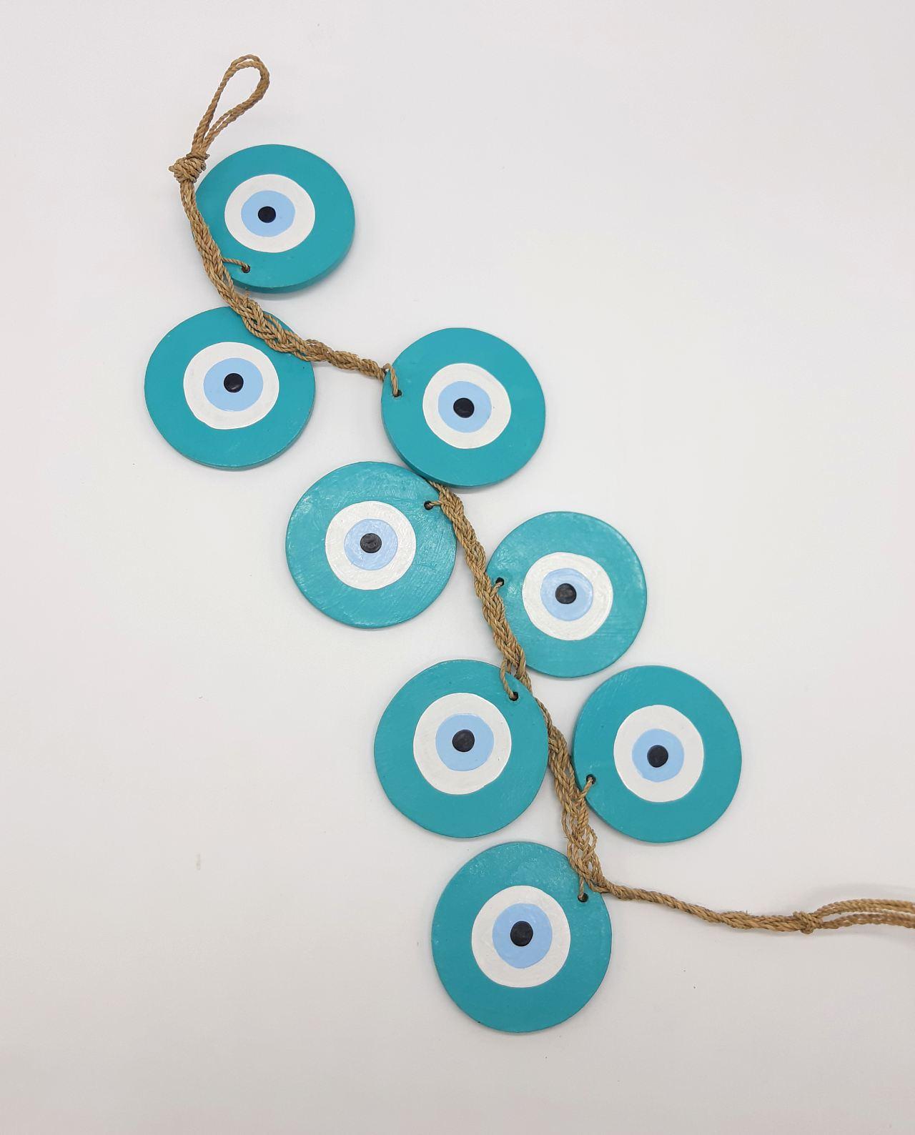 Γιρλάντα 8 Ματάκια Ξύλινα Χειροποίητα Μήκος 50 cm χρώμα πετρολ cm, color teal
