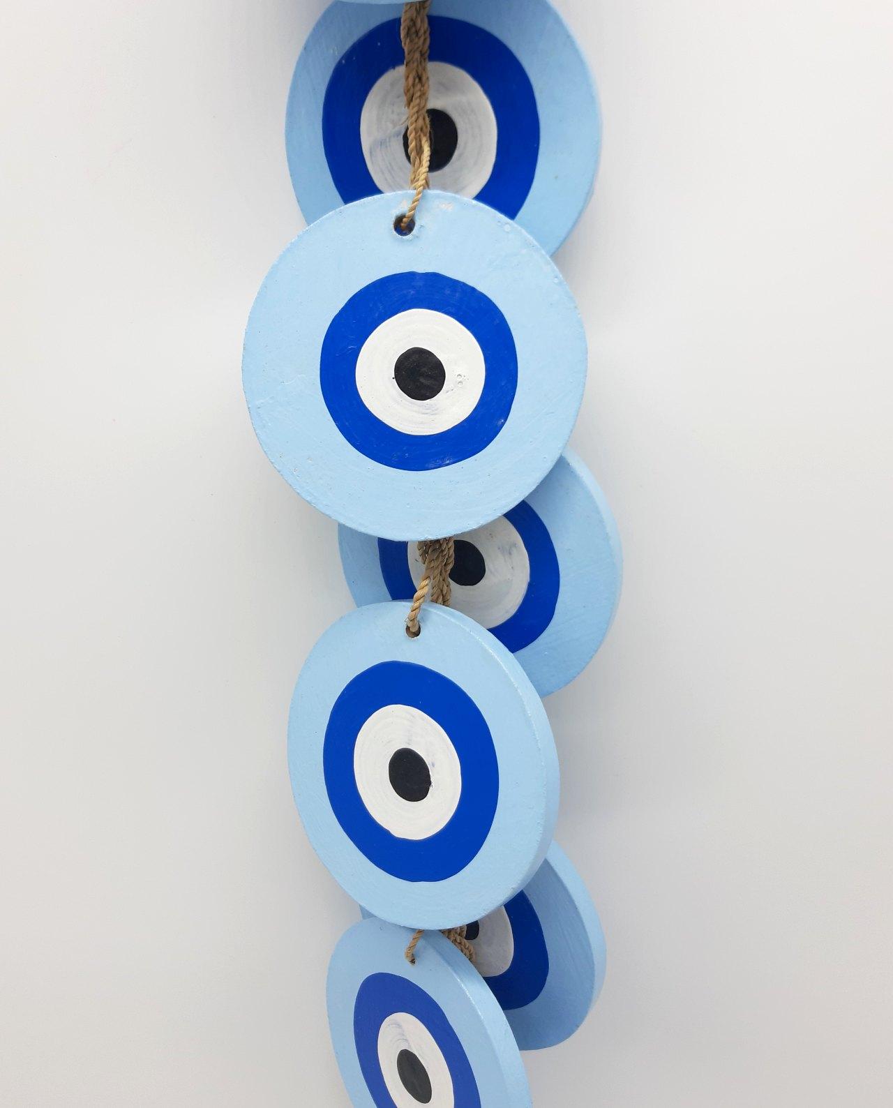 Γιρλάντα 8 Ματάκια Ξύλινα Χειροποίητα Μήκος 50 cm χρώμα γαλάζια
