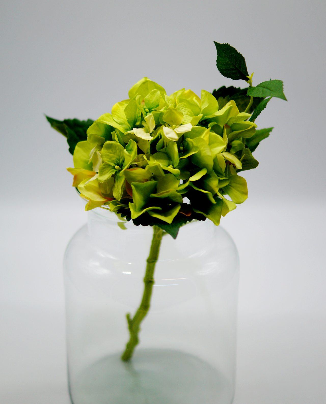 Hydrangea Fabric Green height 38 cm