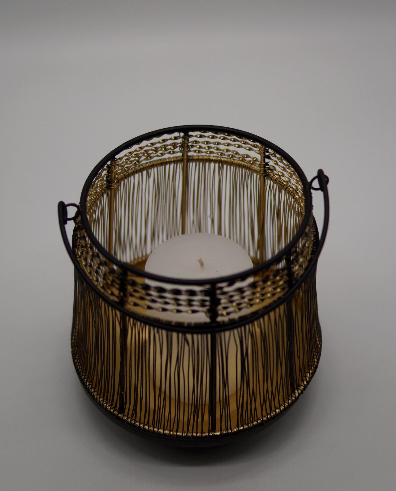 Φανάρι πλεκτό μεταλλικό μάυρο χρυσό