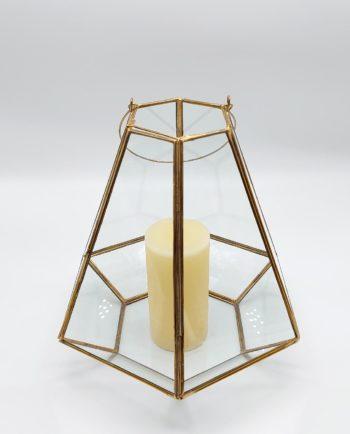 "Lantern ""Pyramid"" Gold Copper Height 27 cm"