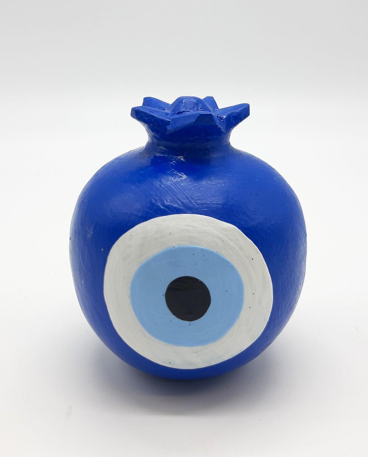 Ρόδι Ματάκι Στρογγυλό Ξύλινο Διαμέτρου 8.5 cm χρώμα μπλε