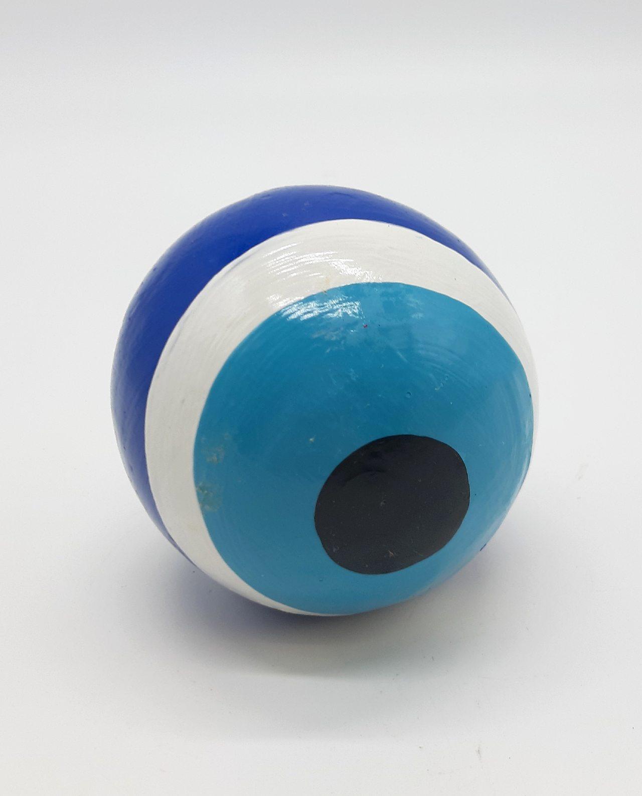 Σφαίρα Ματάκι Ξύλινη Χειροποίητη Διαμέτρου 8 cm χρώμα μπλε