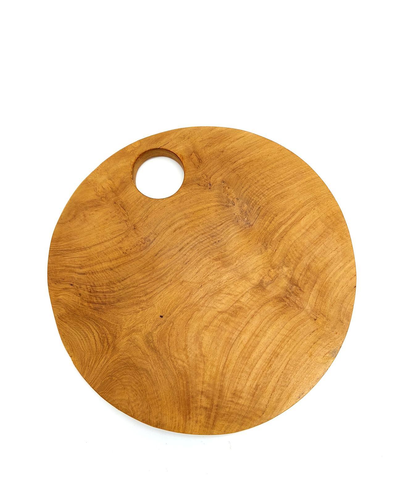 Teak Wood Cutting Board Round Diameter 21 cm