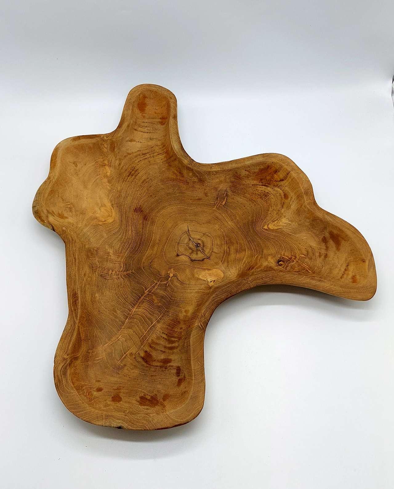 Platter Τeak Wood Abstract Diameter 50 cm