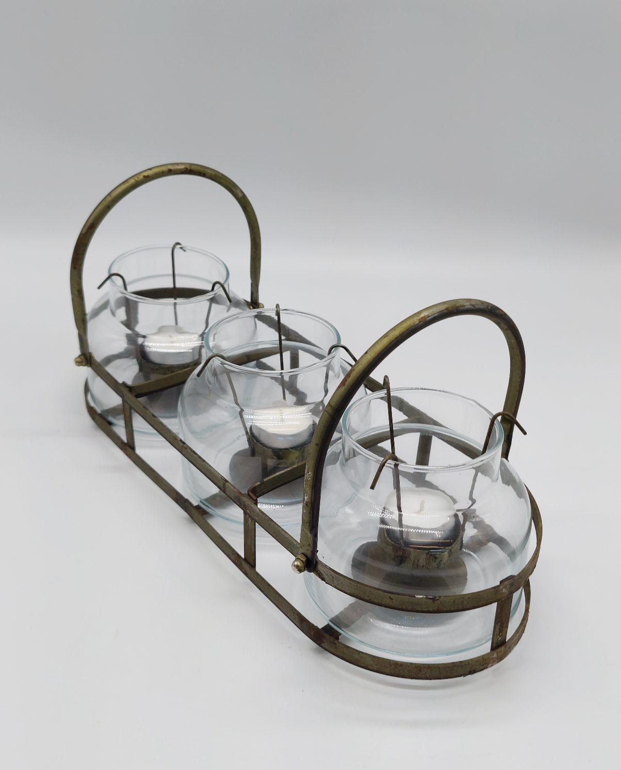 Tealight Holder Iron 3 Votive Glasses