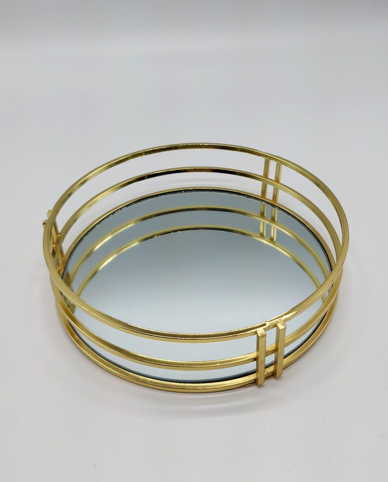 Tray Round Metal Gold Mirror Diameter 20 cm