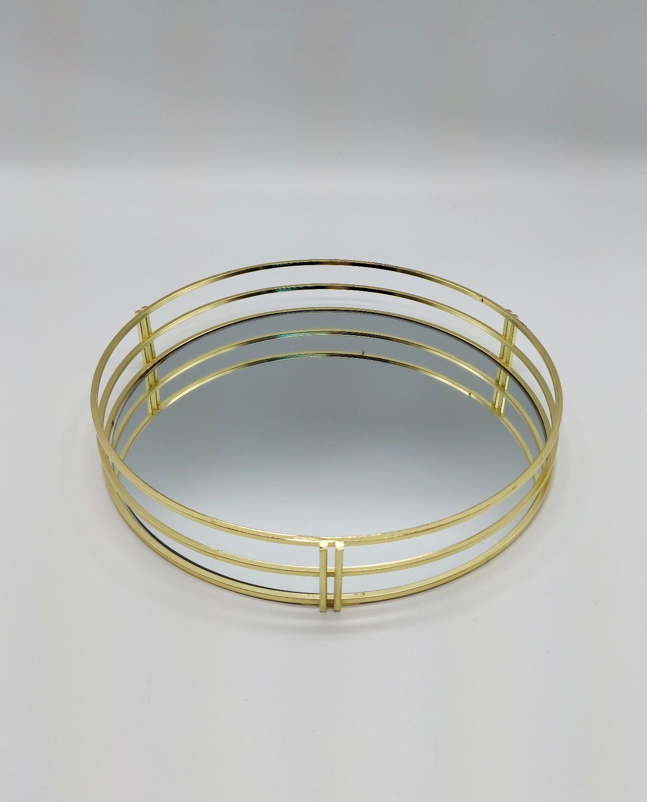 Tray Round Metal Gold Mirror Diameter 30 cm