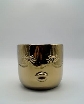 "Pot Ceramic Gold ""Lady"" Height 11 cm"