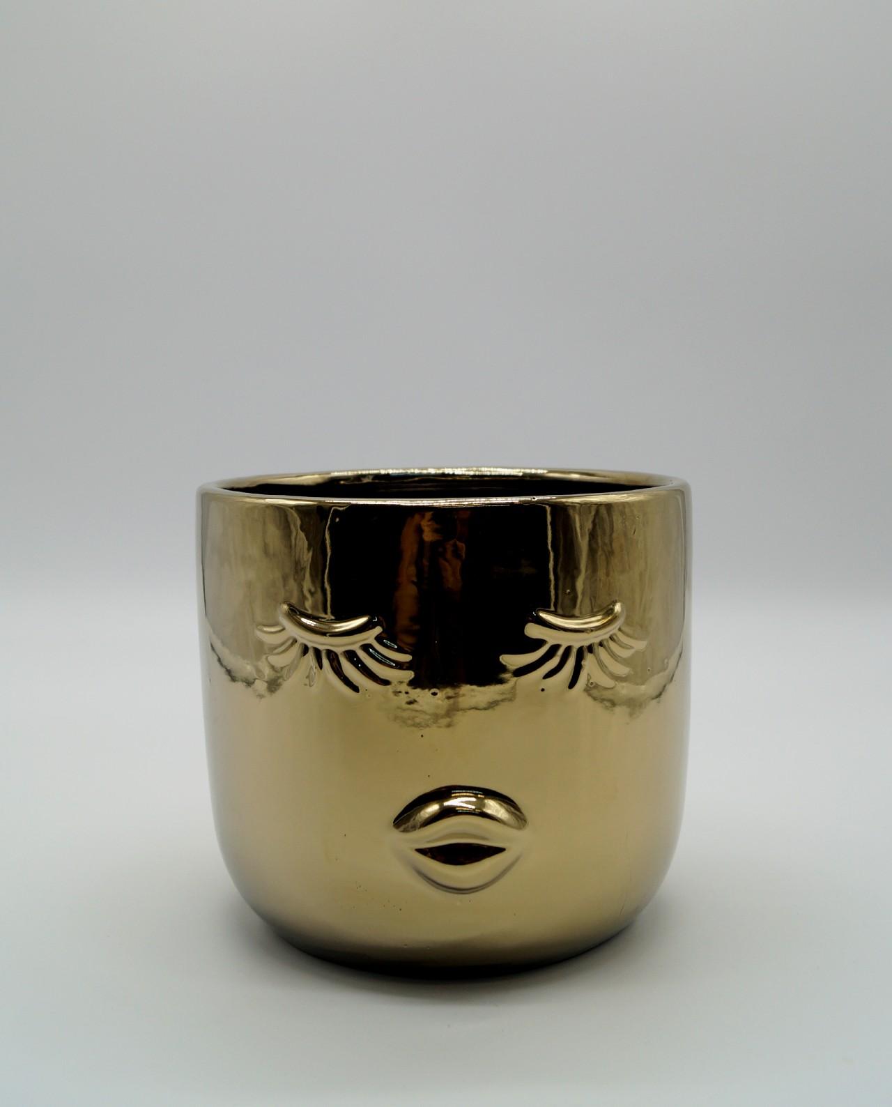 """Κεραμικό Kασπώ Χρυσό """"Lady"""" Ύψος 15 cm"""