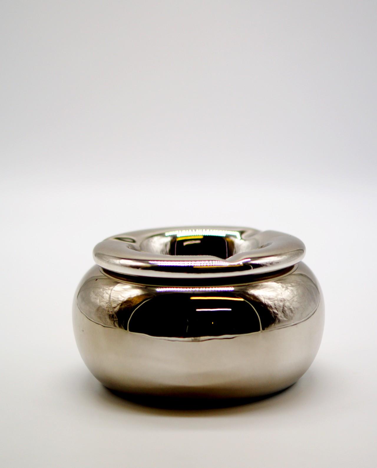 Ashtray Ceramic Silver Diameter 15 cm
