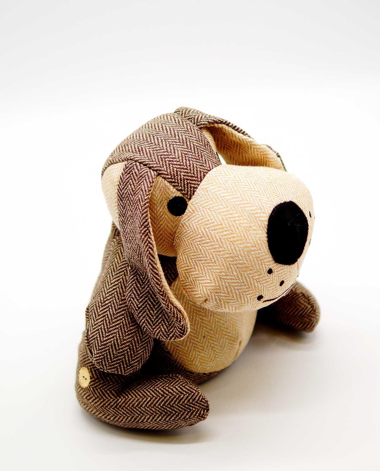 Door Stop Brown Fabric Dog