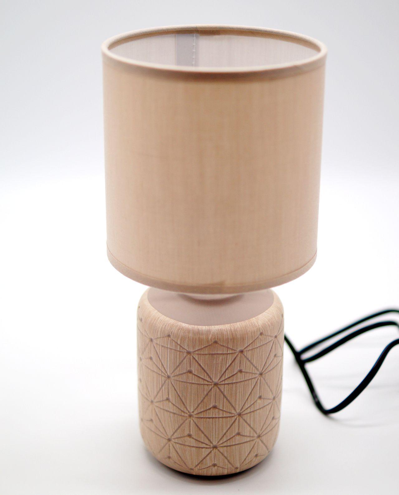 Table Lamp Beige Ceramic Cylinder Base