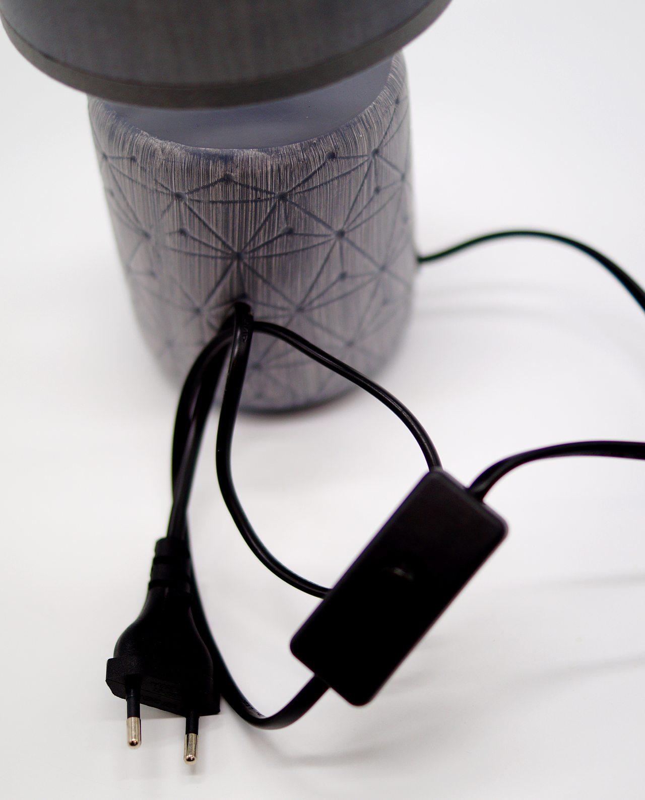 Table Lamp Ceramic Cylinder Grey Base
