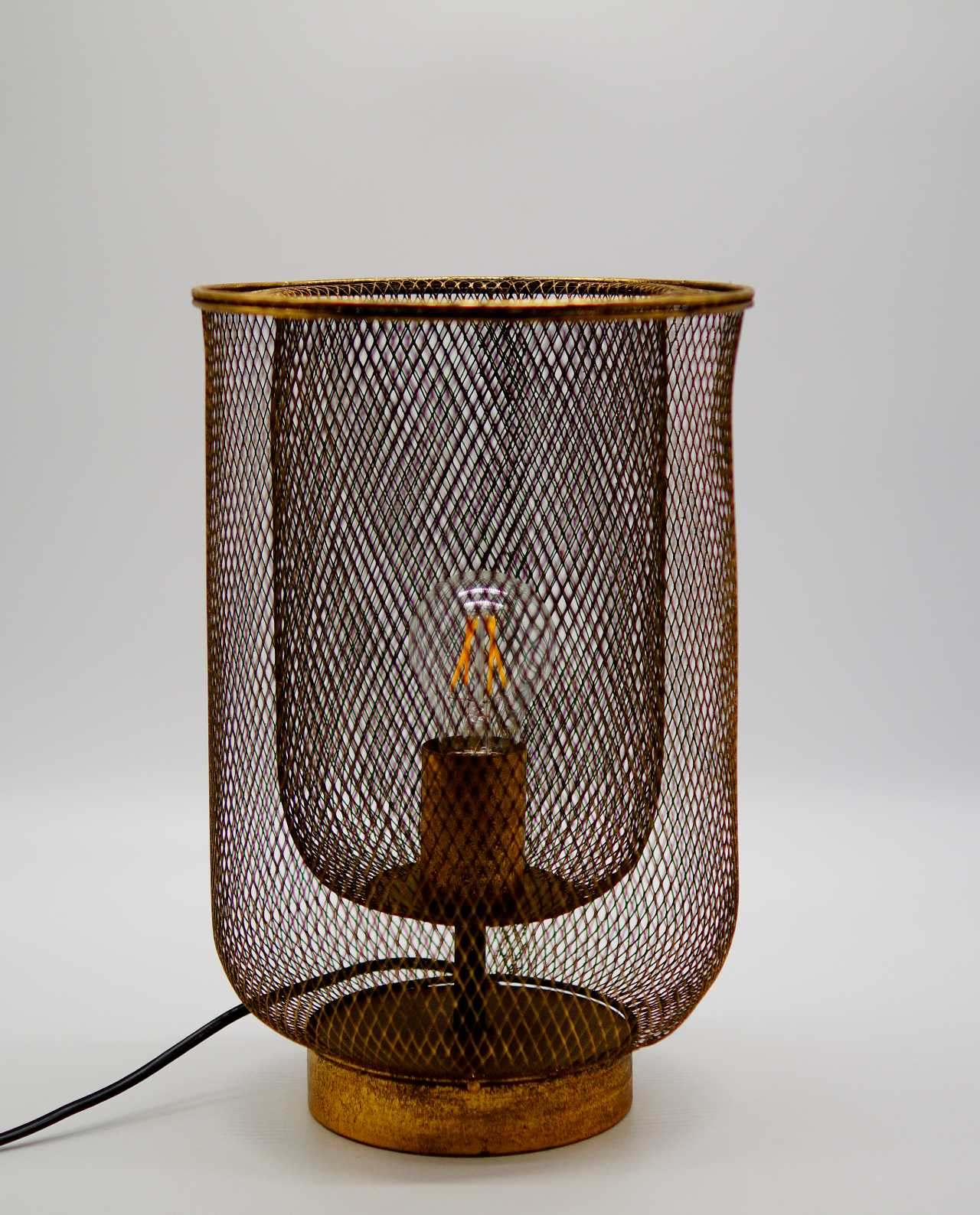 Table Lamp Iron Antique Gold Height 35 cm