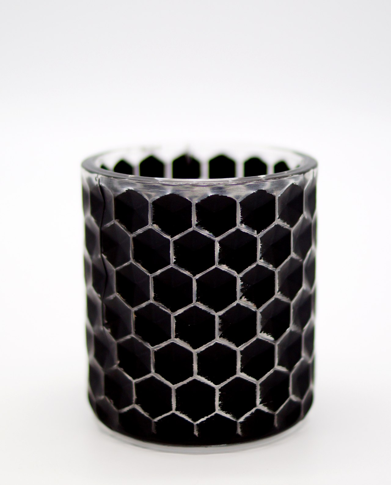 Tealight Black Glass with pattern of hives